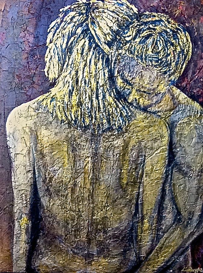 Metallic painting gold couple hug