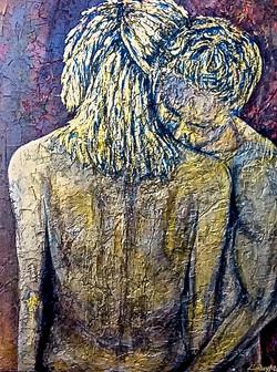 Metallic painting gold couple hug