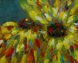 Yellow sunflower painting red blue