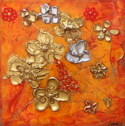 textured flower painting gold red