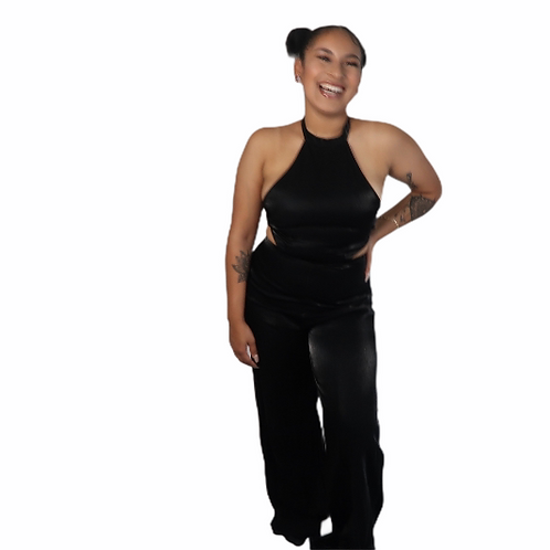 Halter Jumpsuit w Cut Outs