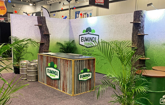 Trade Show Exhibition Stand with Faux Trees - Eumundi Brewery