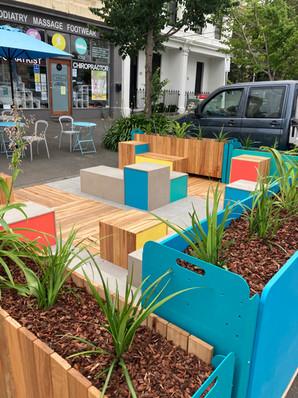 Bridport Street Parklet - Colourful Seats