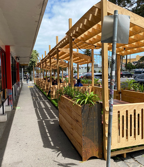 Parklet with Shade Structure in Parking Spaces, Melbourne