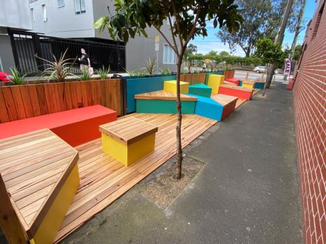 Colourful Parklet at Marlborough & Chapel St, Melbourne