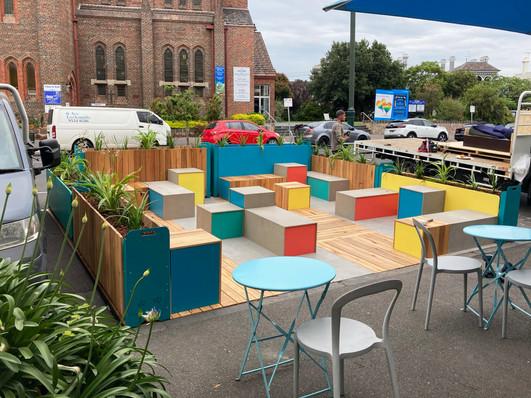 Bridport Street Parklet - Colourful Seating