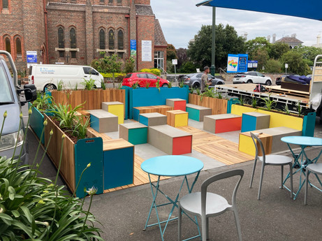 Bridport Street Parklet - Colourful Seats