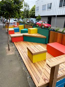 Colourful Parklet at Marlborough & Chapel Streets, Melbourne