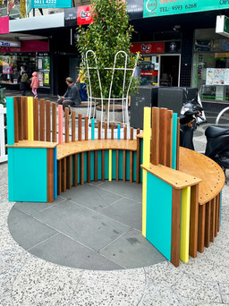Brightly Coloured Bench on Acland St