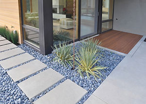Home landscaping concrete stepping stone sidewalk