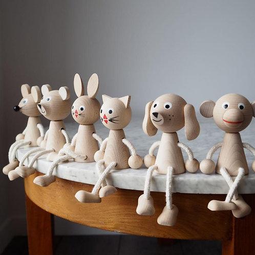 Wooden Sitting Animal - Monkey, Mouse, Dog, Bear