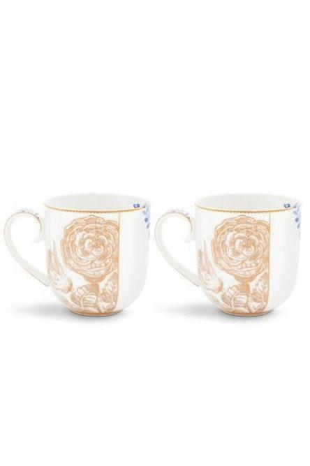 Gift Set of 2 Mugs Large Royal White by Pip Studio