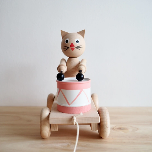 Dolores - Pull Along Wooden Cat With Drum