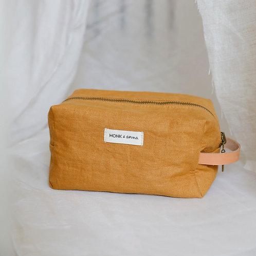 Linen Toiletry Bag - Mustard