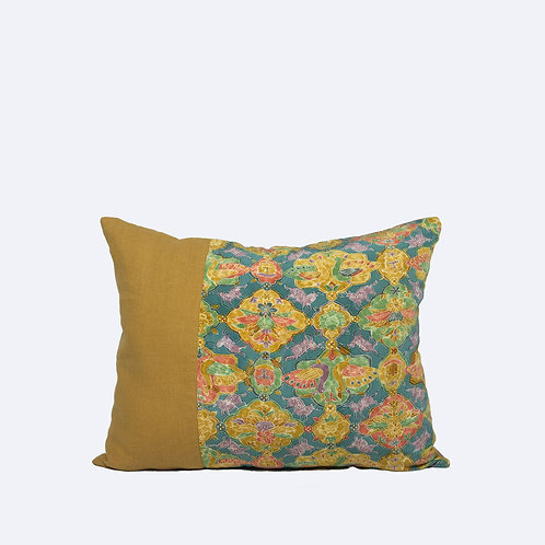 """16"""" x 20"""" Yellow Cushion Made of Natural Linen and Vintage Japanese Silk"""