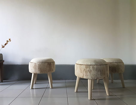 Three stools. Fabric for upholstery was manually depigmented