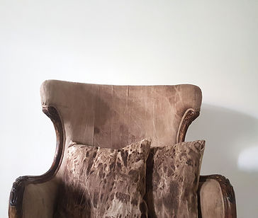 Soft armchair with two cushions. Unique design made by artists