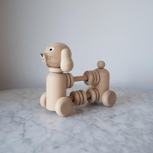 Bartholomew - NATURAL - Wooden Dog Counter / Rattle