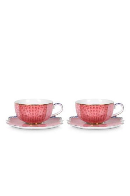 Gift Set of 2 Espresso Cups and Saucers Royal Pink by Pip Studio
