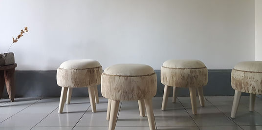 Four stools. Designed by artists