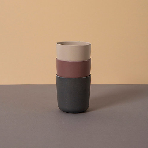 Bamboo Cup 3-Pack: Fog/Beet/Ocean