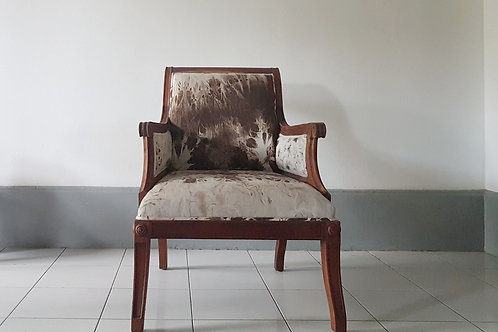 Soft brown armchair. Front view. Design reupholstery