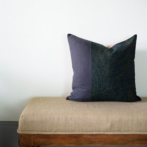 """20"""" x 20"""" Blue Cushion Made of Natural Linen and Vintage Japanese Silk"""