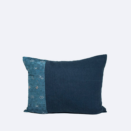 "16""x 20"" Navy Color Cushion Made of Premium Linen and Japanese Vintage Textile"