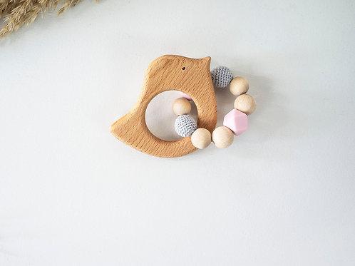 Bird Teething Ring: Pink & Gray
