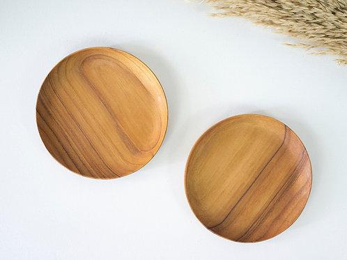 2 Teak Wood Handmade Round Plates