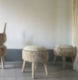 Soft stools, upholsterd by home decor boutique atelier in Singapore