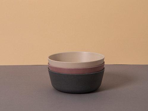 Bamboo Bowl 3-Pack: Fog/Beet/Ocean