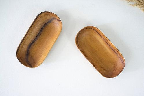 2 Teak Wood Handmade Oval Plates