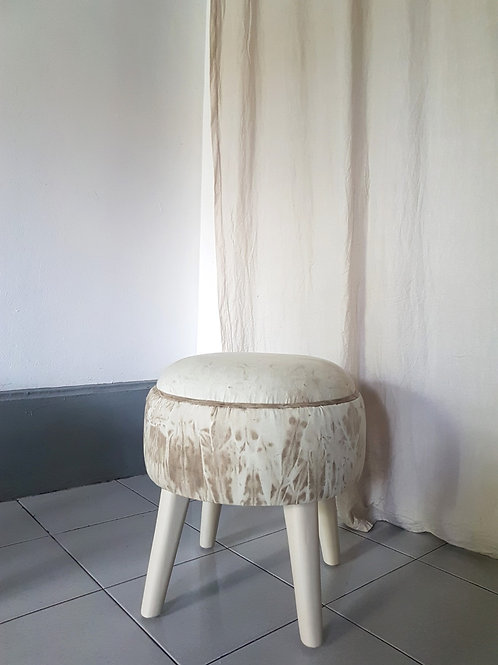 Soft stool. Mahogany wood. Artist atelier