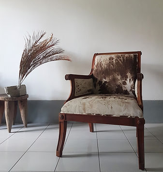 Teak armchair. Upholstery from artists designers. Atelier in Singapore