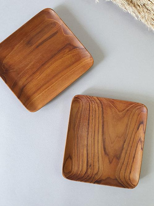 2 Teak Wood Handmade Square Plates