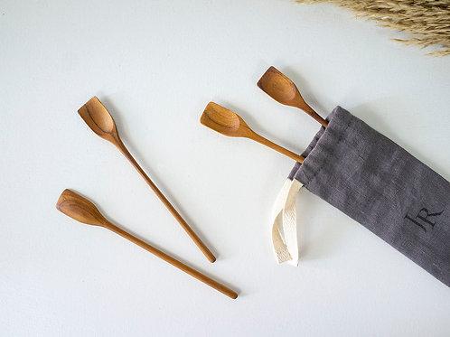 4 Teak Wood Handmade Dessert Spoons