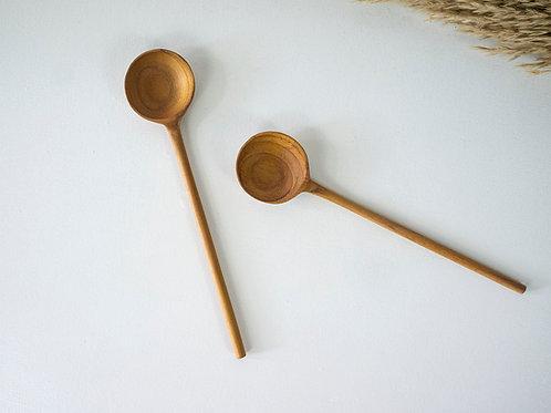 2 Round Teak Wood Handmade Tablespoons