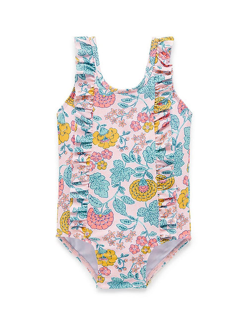 Pink with Flowers One Piece Swimwear for Childrent