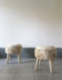 Two stools. Reupholstery and styling service for furniture.