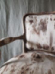 Close-up of details of design upholstery of the vintage chair