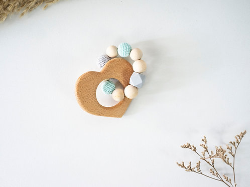 Heart Teething Ring: Mint & Grey