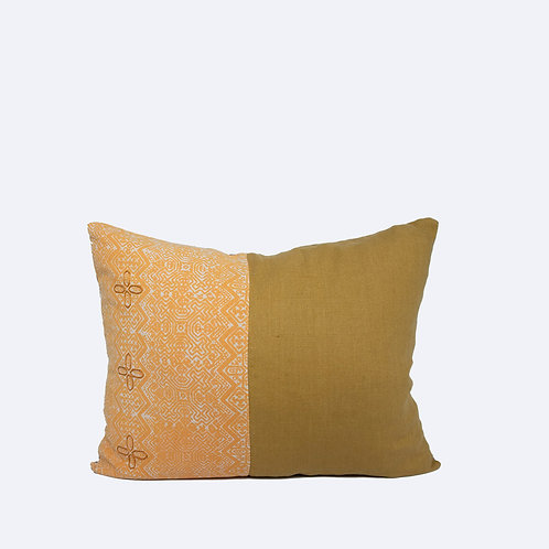 "16"" x 20"" Yellow Pillow Made of Natural Linen and Traditional Thai Batik"