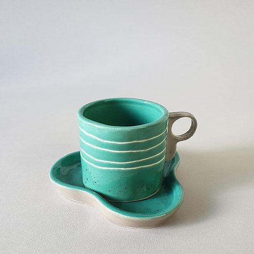 Teal Cup and Saucer by Kandura Studio