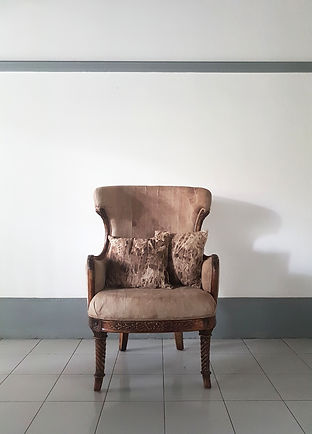 Large armchair. Reupholstered by designers in Singapore.