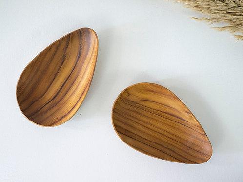 2 Teak Wood Handmade Almond-Shaped Plates