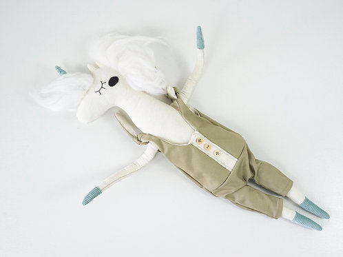 Handmade Toy Unicorn in an Overall