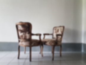 Two vintage chairs, reupholstery by artist's atelier