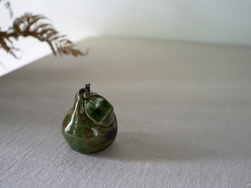Green Handmade Ceramics Pear with a Large Leaf