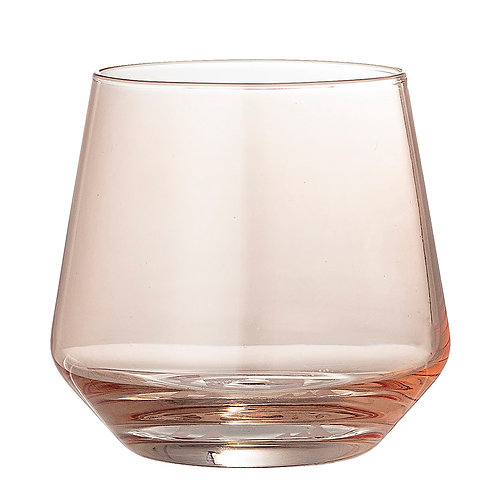 Drinking Glass in Rose Colour on White Background